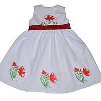 Детское нарядное платье для девочки, выпускное в детский сад и украшено вышивкой лилий и красным поясом