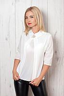 Красивая белая шифоновая блузка