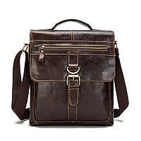 Винтажная сумка из натуральной кожи на ремне. Деловая сумка.Старинная сумка. Удобная сумка на ремне. Код: КН47