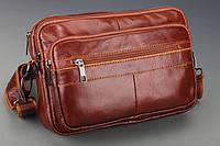 Кожаная небольшая сумка через плече. Сумка с карманами. Удобная, прочная, функциональная сумка. Код: КН48