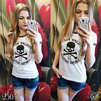 Стильная молодежная женская футболка ЗО - веселый роджер