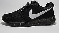Кроссовки  женские Nike Roshe Run сетка, черные с белым, подошва в белую точку(найк роше ран)р.40