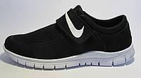 Кроссовки мужские  Nike Free Run 3.0 сетка, черные с белым на липучке (найк фри ран)р.42,45