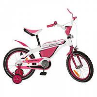 """Детский розовый велосипед для девочки, двухколесный со страховочными колесами 12"""" на возраст 2,3,4 года"""