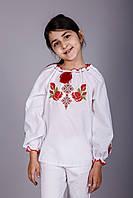 Красивая вышиванка для девочки с длинным рукавом