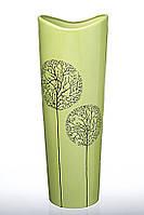Ваза керамическая высокая зеленая из коллекции Деревья.
