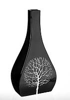Ваза-бутылка керамическая глянцевая черная из коллекции Деревья.