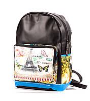 Городской рюкзак женский Paris черный кожзам PU кожа с принтом