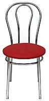 [ Tulipan chrome S-3120 ] Мягкий хромированный стул искусственная кожа красный
