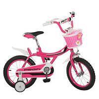 Детский двухколесный велосипед для девочки Profi со страховочными колесами и корзиной