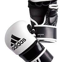 Перчатки трен.Adidas ММА кожа и ПУ черно/бел