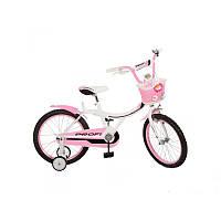 """Детский розовый велосипед для девочки двухколесный 14"""" Profi"""