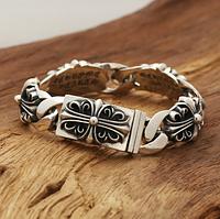 Мужской серебряный браслет Кельтский крест Chrome Hearts 81,57 гр, 20 см