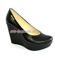 Кожаные женские туфли на устойчивой высокой платформе, фото 1