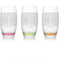 Набор стаканов для напитков декорированные с цветным дном EMP SWEET MEMORIES 510 мл 3 шт LAV