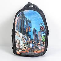 Практичный школьный рюкзак с принтом городские пейзажи, код 87-68