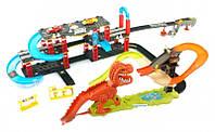 Трек Динозавр. Поймай тачку. ДИНОЗАВР РЕКС В ГОРОДЕ +10 металлических машинок в комплекте