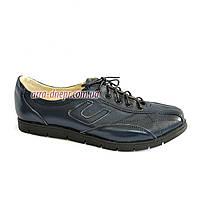 """Кожаные синие спортивные женские туфли на шнуровке. ТМ """"Maestro"""", фото 1"""
