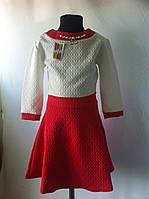 """Трикотажное платье """"Стеганка"""" для девочек от 6 до 13 лет (32-40 размер)"""