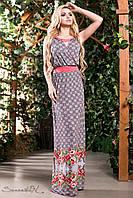 Женское летнее платье в пол с коралловым принтом микромасло