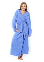 """Махровый халат длинный голубой с капюшоном """"Премиум"""" р.50 длинный на рост 170 см."""