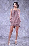 Летнее платье ассиметрия, клетка 8220 полиит