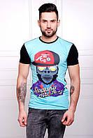 Яркая мужская летняя футболка голубая с черным