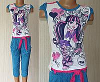 Костюм летний с бриджами и футболкой для девочки