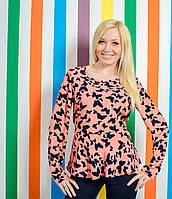 Блуза женская  с баской персик, фото 1