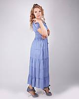 Большой размер Нежное   длинное платье, голубое