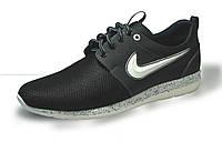 Летние кроссовки кожа + сетка черные