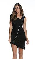 Черное платье с диагональной молнией