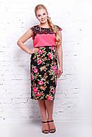 Коттоновая юбка карандаш средней длины миди с цветочным принтом большого размера 54-60