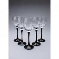 Набор бокалов для белого вина на черной ножке VEN 245 мл 6 шт Gurallar Art Craft