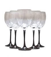 Набор бокалов для вина\ воды на черной ножке  VENUE 340 мл 6 шт Gurallar Art Craft