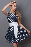 Красивое платье молодежное в крупный белый горох с кожаным поясом