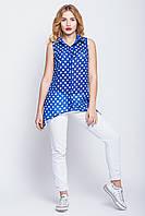 Летняя шифоновая блуза в горох синяя