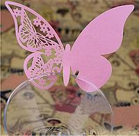 """Карточки для гостей, свадебные украшения, украшения бокалов """"розовые бабочки"""" 10шт набор"""" 11*7см"""