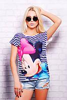 Модная стильная молодежная футболка в сине-белую полоску с Минни р.S,M,L