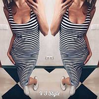 Платье-тельняшка удлиненное  аг06