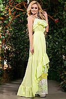 Летнее Платье в Пол из Батиста и Кружевного Гипюра Желтое р. S-3XL