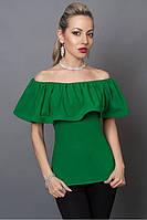 Привлекательная зеленая женская шифоновая блуза