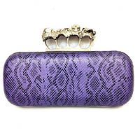 Женская сумка 75 вечерняя клубная с кастетом фиолетовая