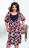 Цветастое летнее платье-батал (в расцветках)
