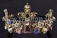 Обруч - корона под золото с жемчугом, цветными камнями и цветами