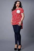 Модная летняя туника красного цвета в мелкий цветочек