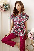 6212-6+6708 комплект женский майка+брюки и блуза Anabel Arto бордовый