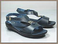 Женские кожаные сандали - босоножки синие
