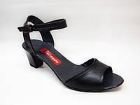 Босоножки черные на каблуке натуральная кожа Б476