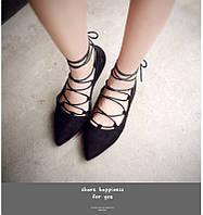 Женские туфли, балетки на завязках, балетки замшевые, балетки на шнуровке, размер 37,38,39 Супер цена!